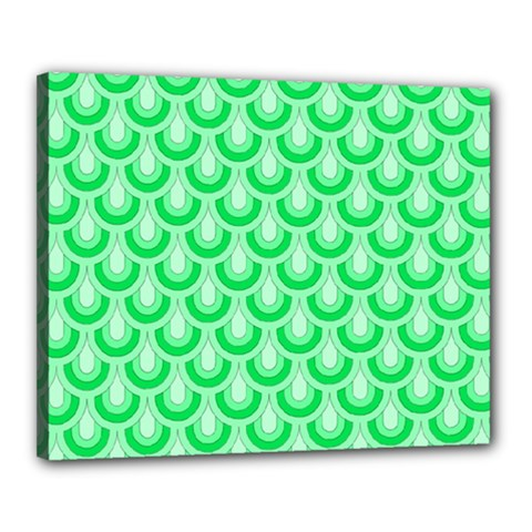Awesome Retro Pattern Green Canvas 20  X 16