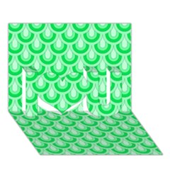 Awesome Retro Pattern Green I Love You 3d Greeting Card (7x5)