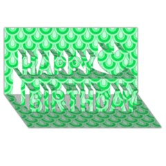 Awesome Retro Pattern Green Happy Birthday 3D Greeting Card (8x4)