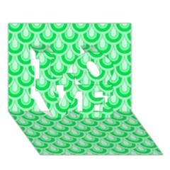 Awesome Retro Pattern Green Love 3d Greeting Card (7x5)