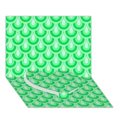 Awesome Retro Pattern Green Heart Bottom 3D Greeting Card (7x5)