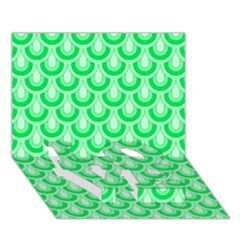 Awesome Retro Pattern Green Love Bottom 3d Greeting Card (7x5)
