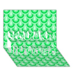 Awesome Retro Pattern Green YOU ARE INVITED 3D Greeting Card (7x5)