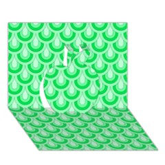 Awesome Retro Pattern Green Apple 3d Greeting Card (7x5)