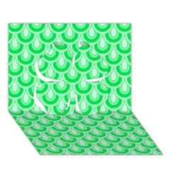 Awesome Retro Pattern Green Clover 3D Greeting Card (7x5)