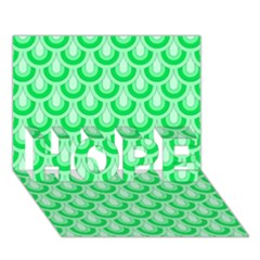 Awesome Retro Pattern Green Hope 3d Greeting Card (7x5)
