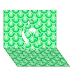 Awesome Retro Pattern Green Ribbon 3d Greeting Card (7x5)