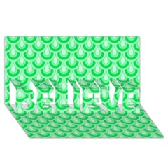 Awesome Retro Pattern Green BELIEVE 3D Greeting Card (8x4)