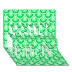 Awesome Retro Pattern Green You Did It 3D Greeting Card (7x5)