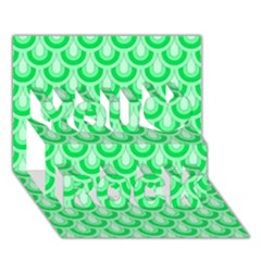 Awesome Retro Pattern Green You Rock 3D Greeting Card (7x5)