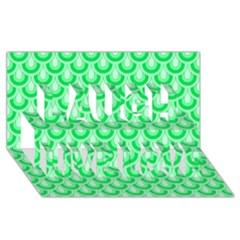 Awesome Retro Pattern Green Laugh Live Love 3d Greeting Card (8x4)