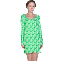 Awesome Retro Pattern Green Long Sleeve Nightdresses