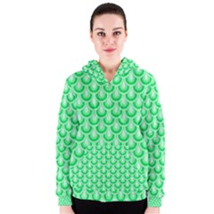 Awesome Retro Pattern Green Women s Zipper Hoodies