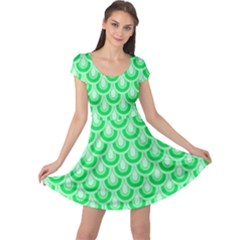 Awesome Retro Pattern Green Cap Sleeve Dresses