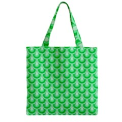 Awesome Retro Pattern Green Zipper Grocery Tote Bags