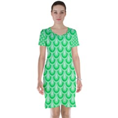 Awesome Retro Pattern Green Short Sleeve Nightdresses