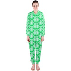 Awesome Retro Pattern Green Hooded Jumpsuit (Ladies)