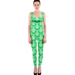 Awesome Retro Pattern Green Onepiece Catsuits