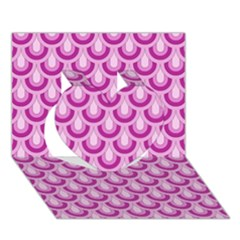 Awesome Retro Pattern Lilac Heart 3D Greeting Card (7x5)