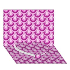 Awesome Retro Pattern Lilac Heart Bottom 3D Greeting Card (7x5)