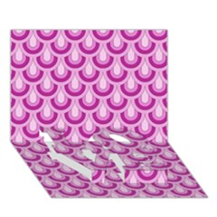 Awesome Retro Pattern Lilac Love Bottom 3d Greeting Card (7x5)