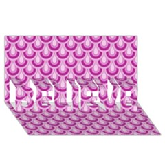 Awesome Retro Pattern Lilac Believe 3d Greeting Card (8x4)