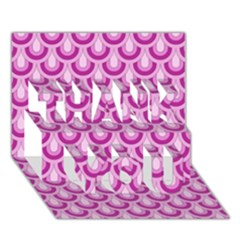 Awesome Retro Pattern Lilac THANK YOU 3D Greeting Card (7x5)