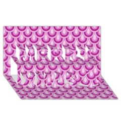 Awesome Retro Pattern Lilac Merry Xmas 3d Greeting Card (8x4)