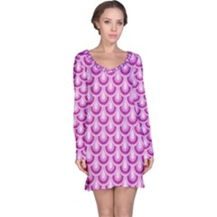 Awesome Retro Pattern Lilac Long Sleeve Nightdresses