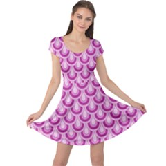 Awesome Retro Pattern Lilac Cap Sleeve Dresses