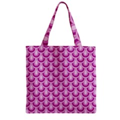 Awesome Retro Pattern Lilac Zipper Grocery Tote Bags