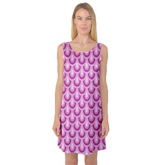 Awesome Retro Pattern Lilac Sleeveless Satin Nightdresses