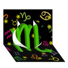 Scorpio Floating Zodiac Sign Heart 3D Greeting Card (7x5)