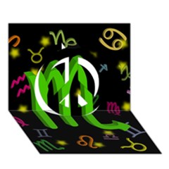 Scorpio Floating Zodiac Sign Peace Sign 3D Greeting Card (7x5)