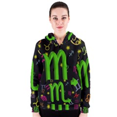 Scorpio Floating Zodiac Sign Women s Zipper Hoodies