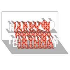 Awesome Retro Pattern Red Happy Birthday 3d Greeting Card (8x4)
