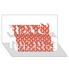 Awesome Retro Pattern Red Best Wish 3D Greeting Card (8x4)