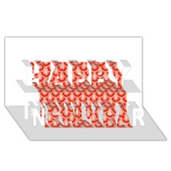Awesome Retro Pattern Red Happy New Year 3D Greeting Card (8x4)