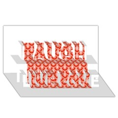 Awesome Retro Pattern Red Laugh Live Love 3d Greeting Card (8x4)