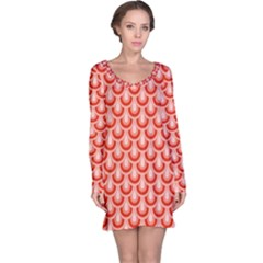 Awesome Retro Pattern Red Long Sleeve Nightdresses