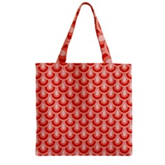 Awesome Retro Pattern Red Zipper Grocery Tote Bags