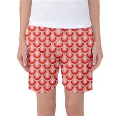 Awesome Retro Pattern Red Women s Basketball Shorts