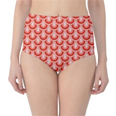 Awesome Retro Pattern Red High Waist Bikini Bottoms