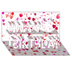 Heart 2014 0601 Happy Birthday 3D Greeting Card (8x4)