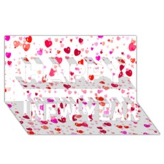 Heart 2014 0601 Happy New Year 3D Greeting Card (8x4)