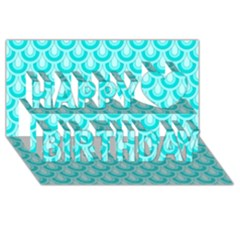 Awesome Retro Pattern Turquoise Happy Birthday 3d Greeting Card (8x4)