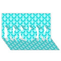 Awesome Retro Pattern Turquoise MOM 3D Greeting Card (8x4)