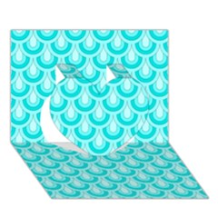 Awesome Retro Pattern Turquoise Heart 3D Greeting Card (7x5)