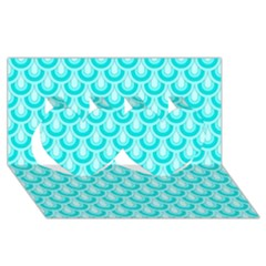 Awesome Retro Pattern Turquoise Twin Hearts 3d Greeting Card (8x4)
