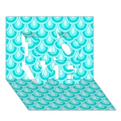 Awesome Retro Pattern Turquoise LOVE 3D Greeting Card (7x5)